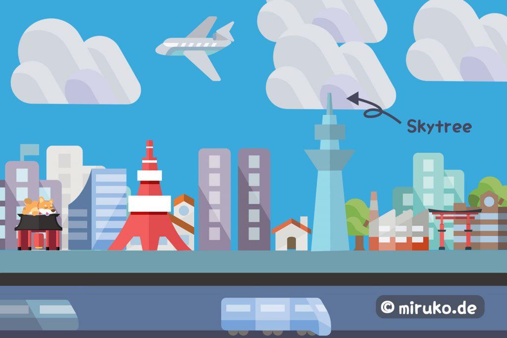 Tokyo Skyline, Skytree, Japan, Flat Design