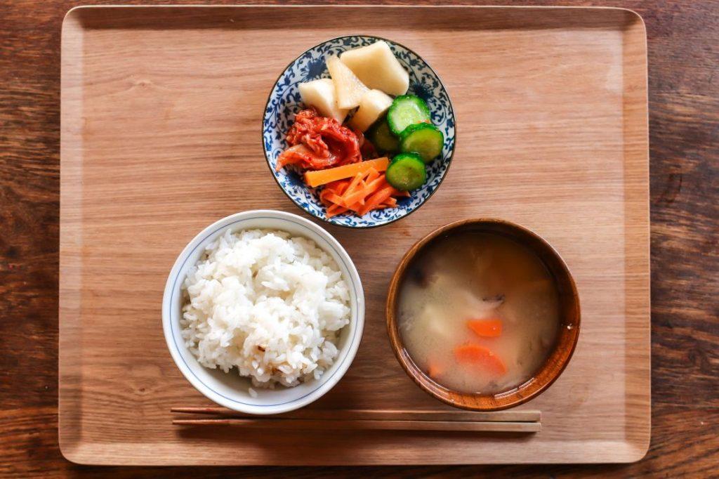 Reis, Gemüse, Misosuppe