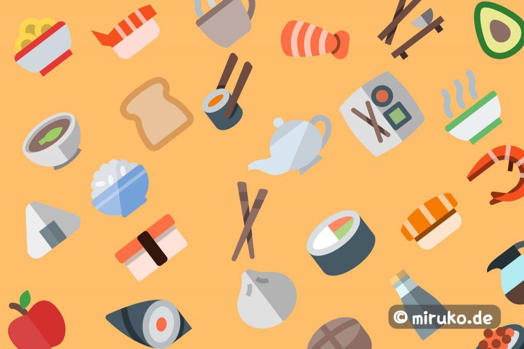 Japanisches Frühstück, Grafik, Flat Design