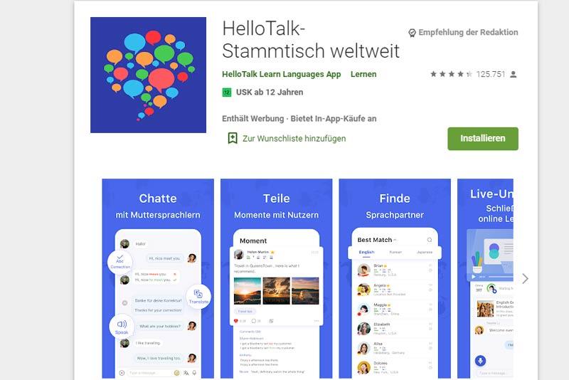 HelloTalk, App zum Sprachen lernen