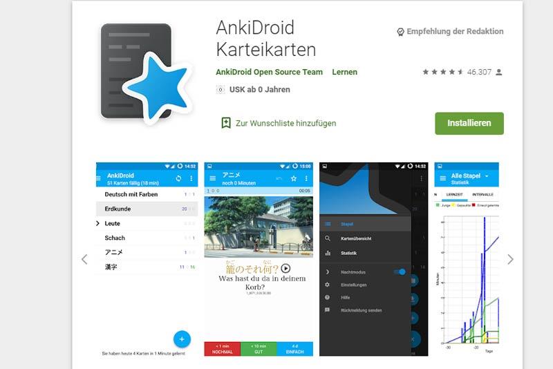 Anki, Karteikarten App