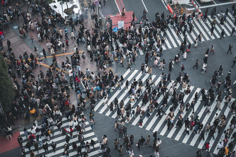 Shibuya Kreuzung in Tokio aus der Vogelperspektive