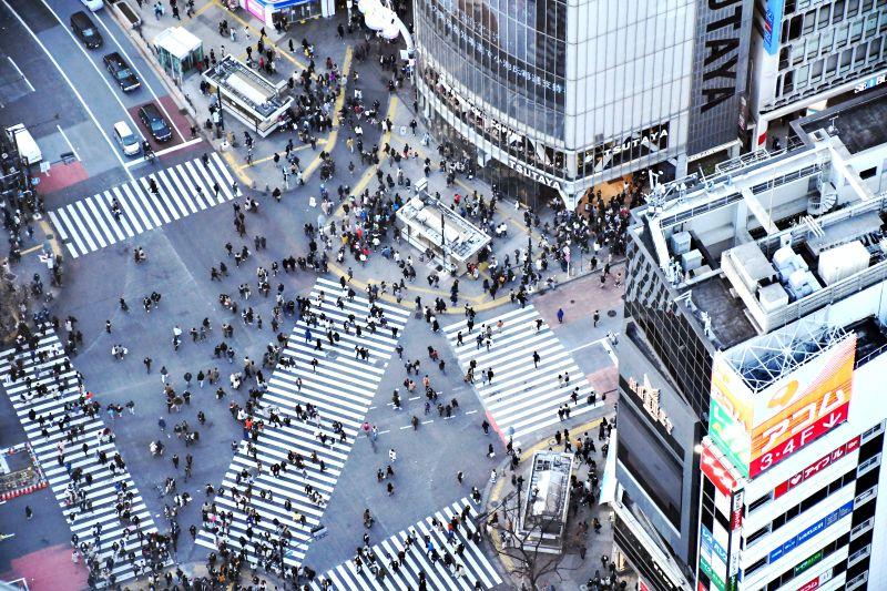 Shibuya Crossing in Tokio, Blick von Shibuya Scramble