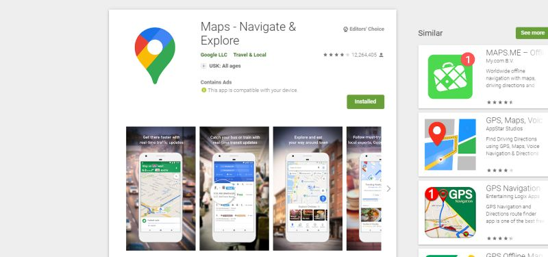 Google Maps App, Google Play Store