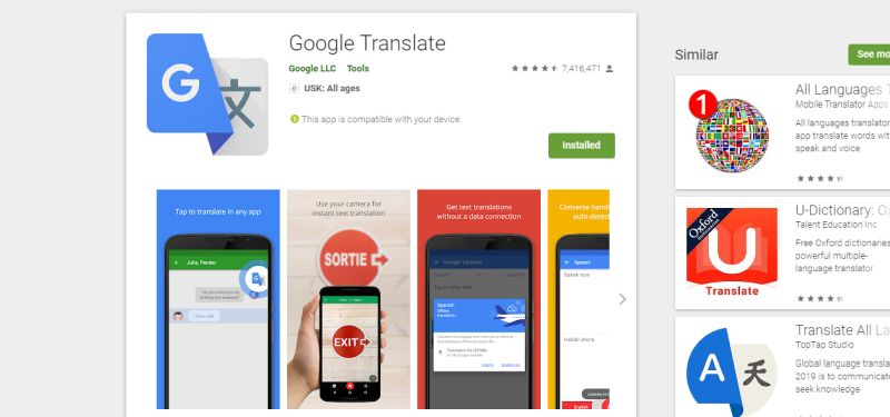 Google Translate App. Download im Play Store
