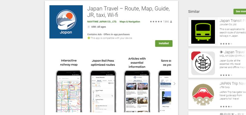 Navitime, Japan Reise Apps, Google Play Store