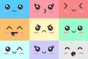 Kawaii, Niedliche Gesicher und Smileys