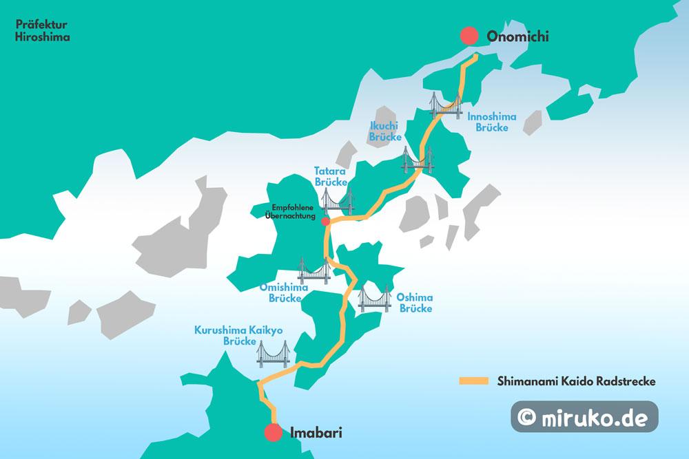 Karte, Shimanami Kaido, Seto Binnensee