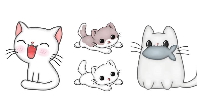 Kawaii Zeichnen lernen, Niedliche Katzen Bilder