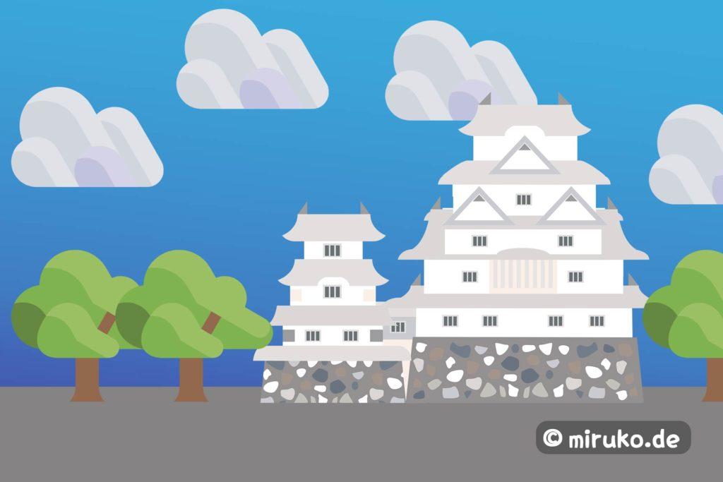 Himeji-jo, Weißes Schloss in Japan, Grafik
