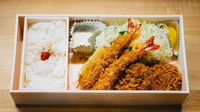 Bento Box, Reis und Ebi Furai, Japan