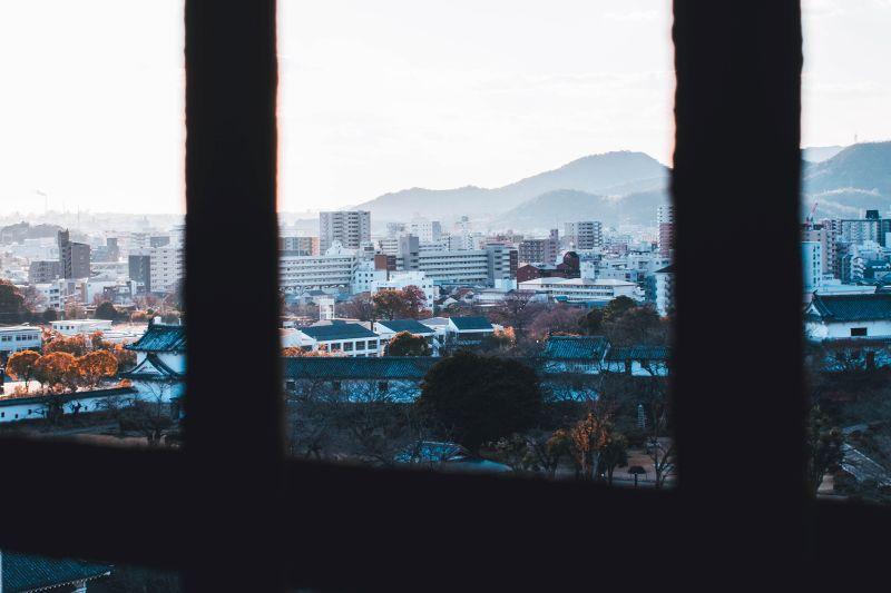 Aussicht auf die Stadt Himeji, Blick vom Himeji Castle